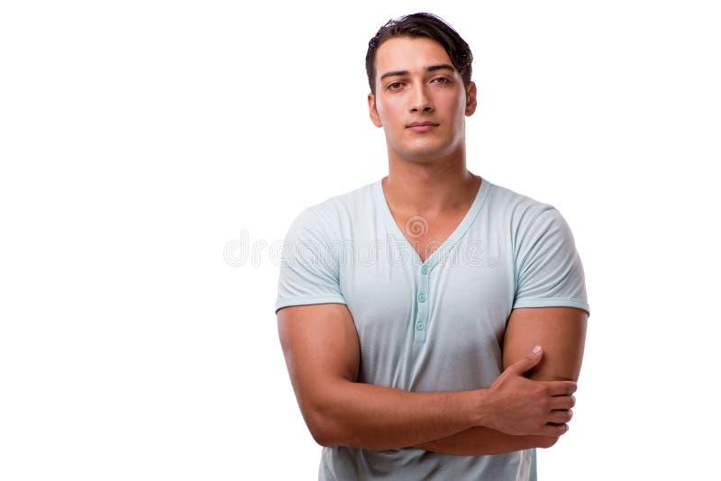 Der junge gutaussehende Mann auf dem weißen Hintergrund lizenzfreies stockbild