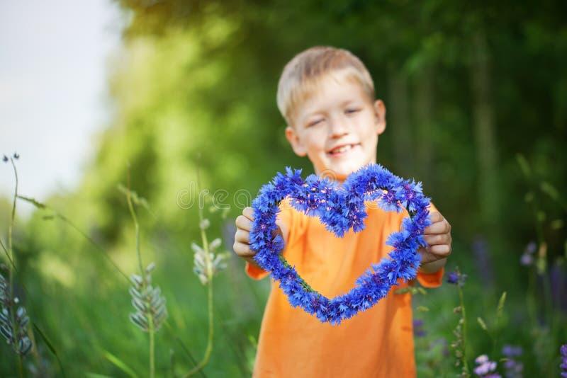 Der Junge hält in der Hand Herz von den Blumen einer Kornblume, weiches f lizenzfreie stockfotografie