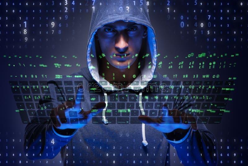Der junge Hacker im Internetsicherheitskonzept stockfotos