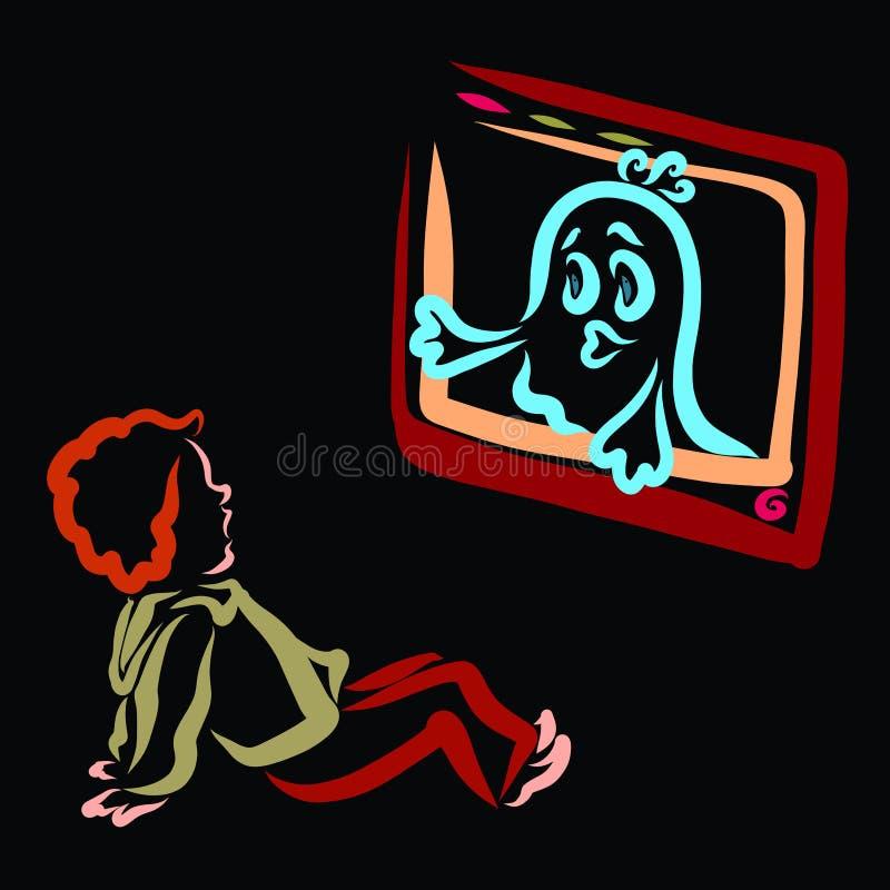Der Junge hat vor dem Geist Angst, der aus den Fernsehschirm herauskam lizenzfreie abbildung
