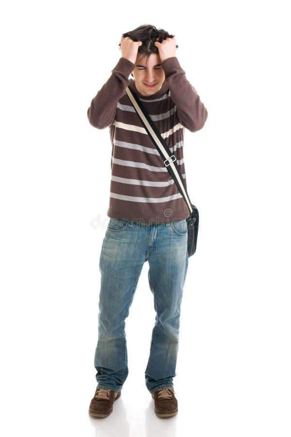 Der junge Kursteilnehmer getrennt auf einem Weiß stockfoto