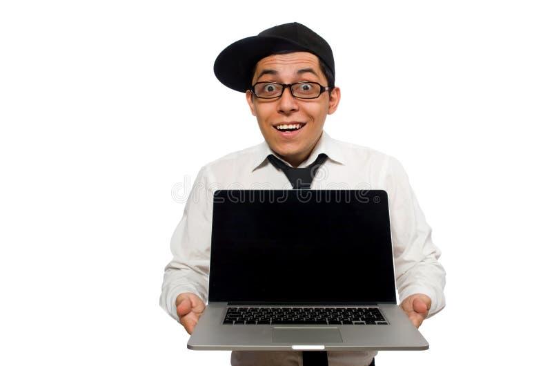 Der junge lustige männliche Programmierer lokalisiert auf Weiß lizenzfreie stockfotografie