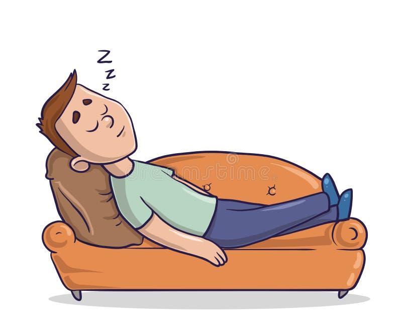 Der junge Mann, der auf einer sandig-farbigen Couch liegt, hält ein Schläfchen Kerl, der auf einem Sofa schläft Zeichentrickfilm- stock abbildung
