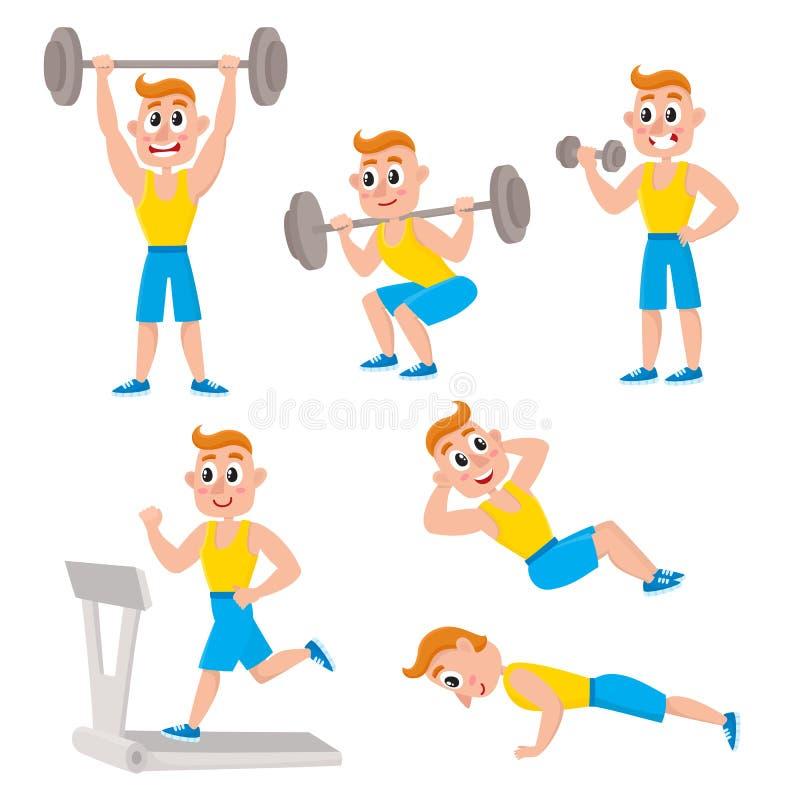 Der junge Mann, der Sport tut, trainiert und bildet, das Gewichtheben aus und tut, sitzen-ops, StoßUPS stock abbildung
