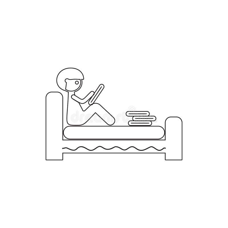 der junge Mann liest ein Buch in der Bettikone Element der Internetsicherheit für bewegliches Konzept und Netz Appsikone Dünne Li stock abbildung
