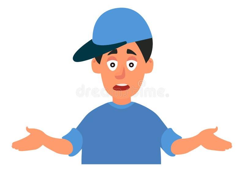 Der junge Mann streckt emotional seine Hände aus Frage: Was ist los? Vector-Illustration auf weißem Hintergrund im Karikaturensti lizenzfreie abbildung