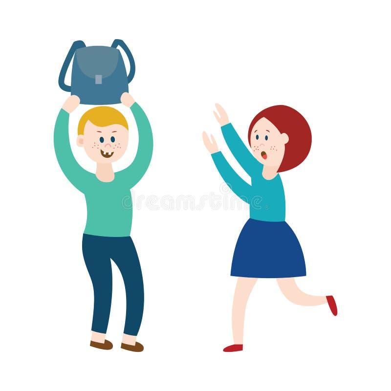 Der Junge, der neckt, eine Tasche nehmend und ein Mädchen einschüchternd flache Vektorillustration, lokalisierte lizenzfreie abbildung