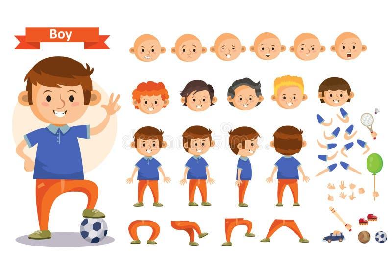 Der Junge, der Sport spielen und die Spielwaren vector lokalisierte Körperteilikonen des Karikaturkindercharakters Erbauer stock abbildung