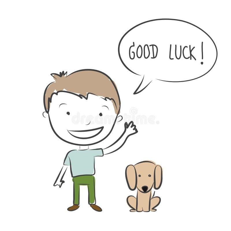 Der Junge und Hund warten und sagen gutes Glück für Auf Wiedersehen Hand gezeichnetes vec lizenzfreie abbildung