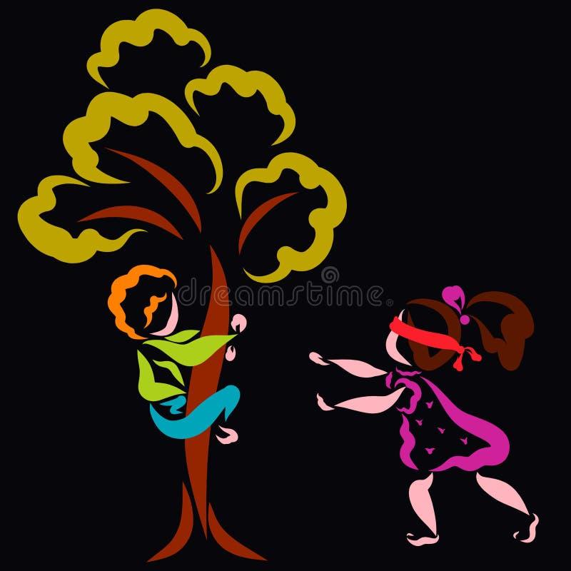 Der Junge versteckt sich in einem Baum, und das Mädchen sucht ihn, Verstecken stock abbildung