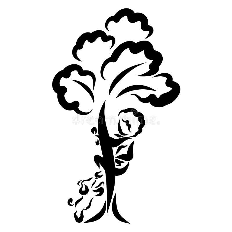 Der Junge versteckt sich in einem Baum, und der nette Welpe leckt seine Beine lizenzfreie abbildung