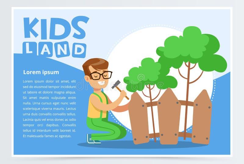 Der Junge, der Zaun mit Hammer, eco Konzept repariert, Kinder landen flaches Vektorelement der Fahne für Website oder bewegliche  vektor abbildung