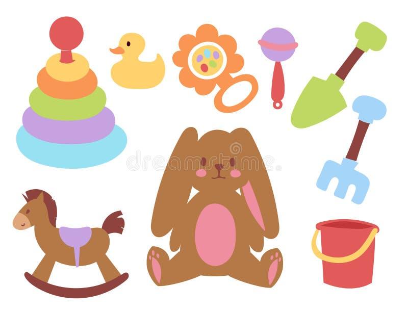Der Jungen- und Mädchenkindheitskunstwindel-Zeichnung des Babyspielwarenikonenkarikaturfamilienkindtoyshopdesigns rattern nette g vektor abbildung