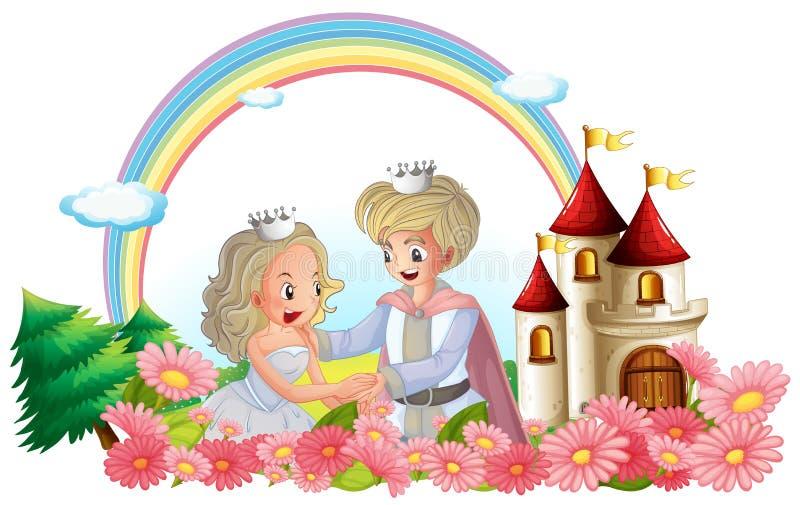 Der König und die Königin vor ihrem Schloss lizenzfreie abbildung