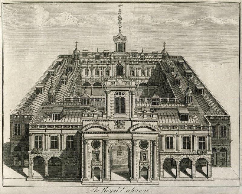Der königliche Austausch von London England 1671 lizenzfreies stockbild