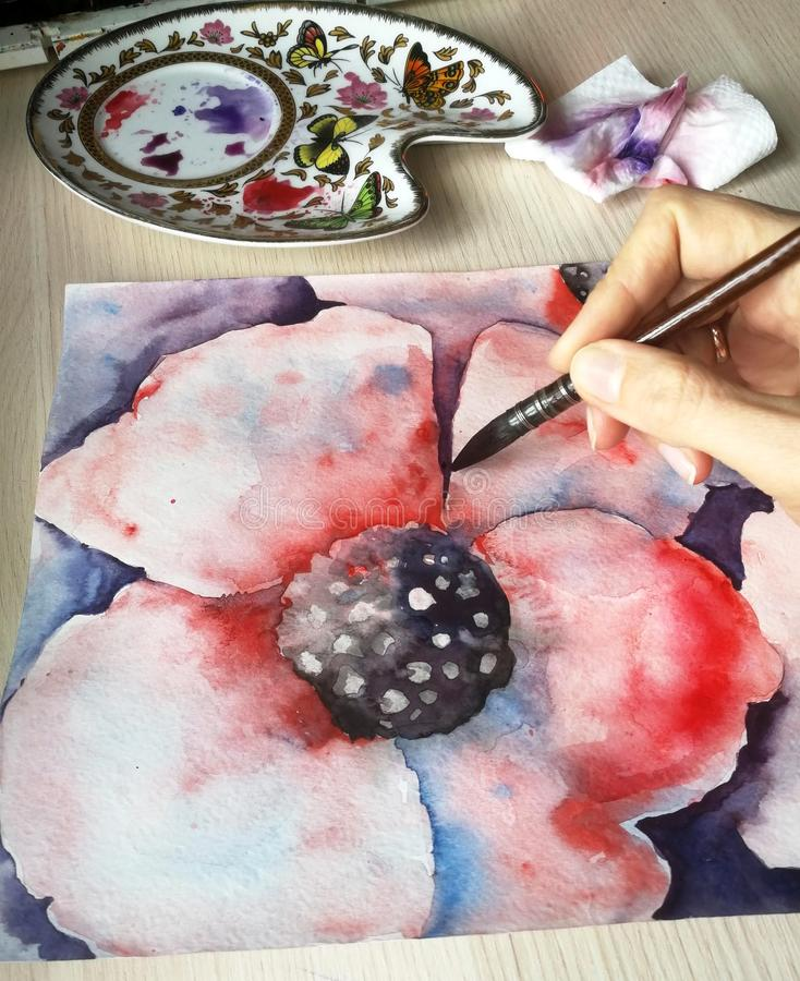 Der Künstler malt eine Aquarellmohnblumenblume Bildpalette, Blatt mit einem Bild, Bürsten, Farbe, selektiver Fokus stock abbildung