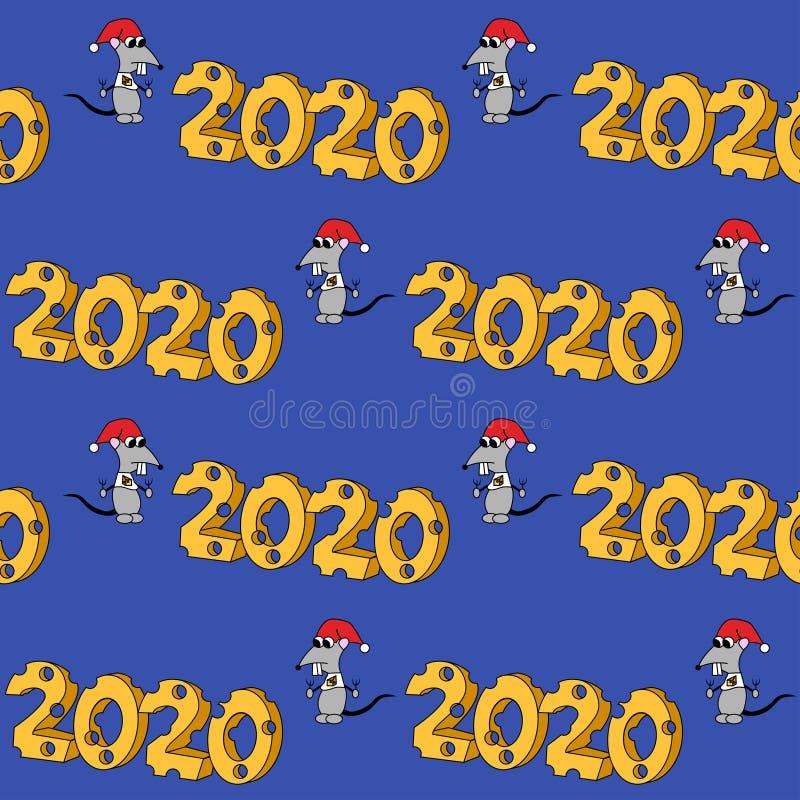 2020 in der K?seform mit hungrigem Charakter Jahr der Ratte Nahtloses Muster stock abbildung