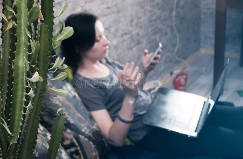 Der Kaktus im Vordergrund, ein junges Brunettemädchen im T-Shirt und Jeans, selektiver Fokus, lizenzfreie stockfotos