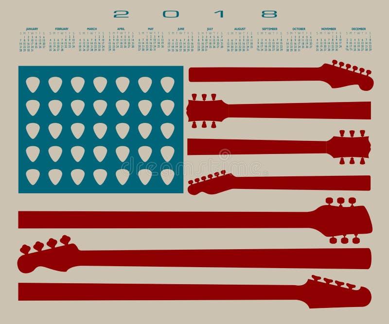 Der Kalender der amerikanischen Flagge, der von der Gitarre gemacht wird, zerteilt und wählt aus lizenzfreie abbildung