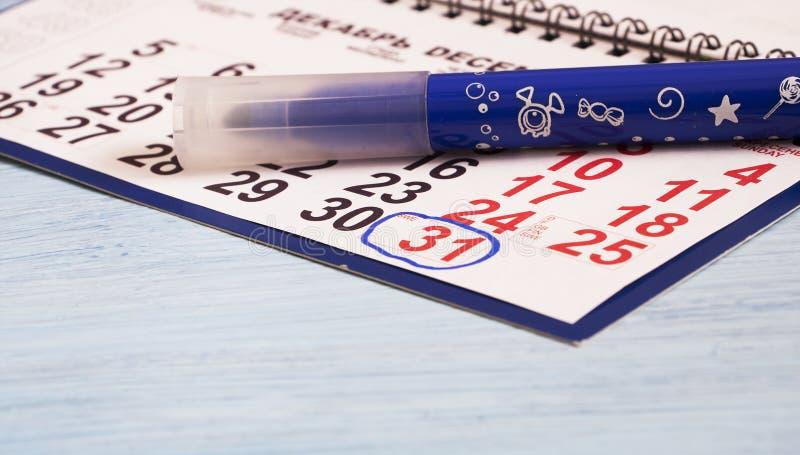Der Kalender ist auf dem Tisch Die Nr. 31 lizenzfreies stockfoto