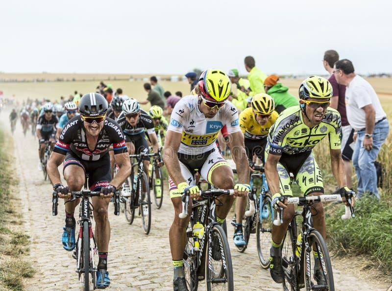 Der Kampf auf den Kopfsteinen - Tour de France 2015 lizenzfreie stockfotos