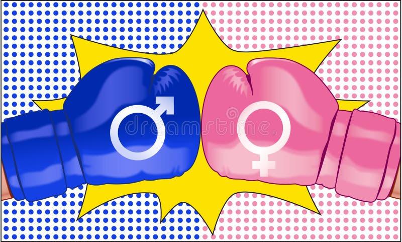 Der Kampf des Sexs dargestellt mit zwei gegenüberliegenden Boxhandschuhen vektor abbildung