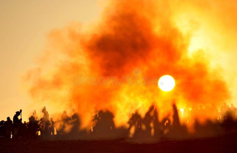 Der Kampf mit Sonne stockbilder