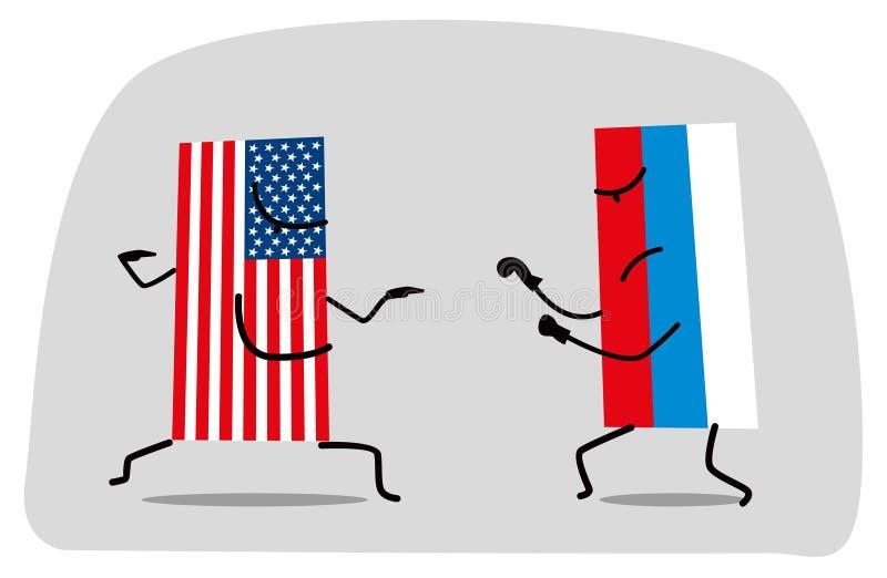 Der Kampf zwischen den lustigen Flaggen der USA und Russland vektor abbildung