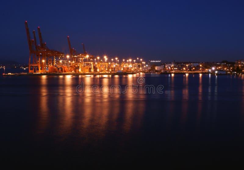 Der Kanal von Vancouver bis zum Nacht stockbild
