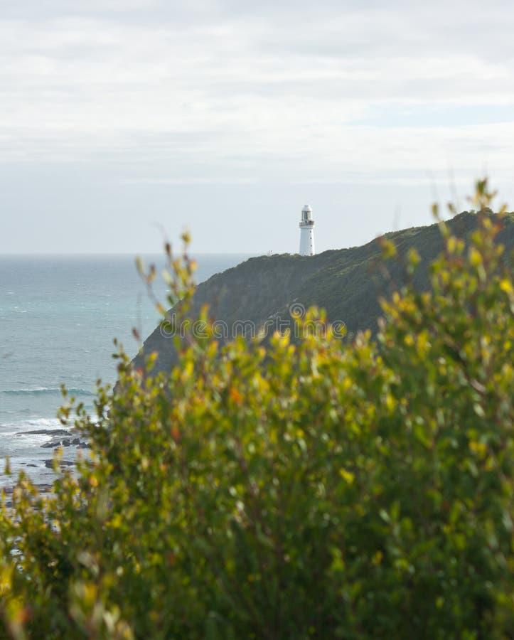 Der Kap Otway-Leuchtturm auf dem Ufer an der großen Ozean-Straße in Australien lizenzfreie stockfotografie