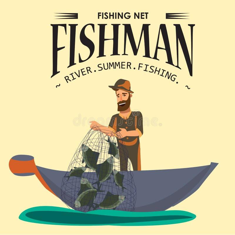 Der Karikaturfischer, der im Hut und im Zugnetz auf Boot aus Wasser heraus, glückliches fishman steht, hält Fischillustration lok lizenzfreie abbildung