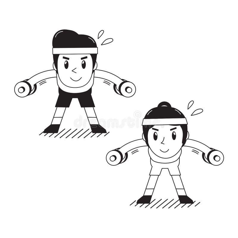 Der Karikaturmann und -frau, die Dummkopf tun, verbogen über seitliche Erhöhungsübung vektor abbildung