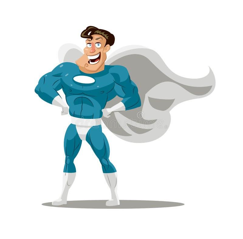Der Karikatursuperheld, der eine Maske trägt, war stehend im Vertrauen und mit einem freundlichen Lächeln heroisch vektor abbildung