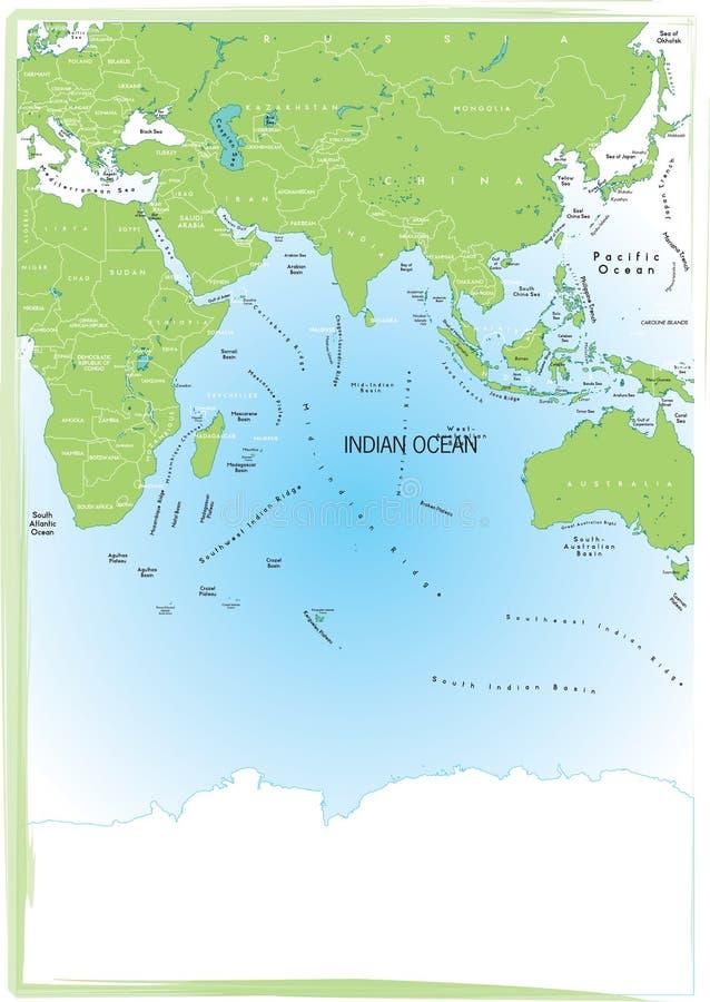 Der Kartenindische ozean. stock abbildung