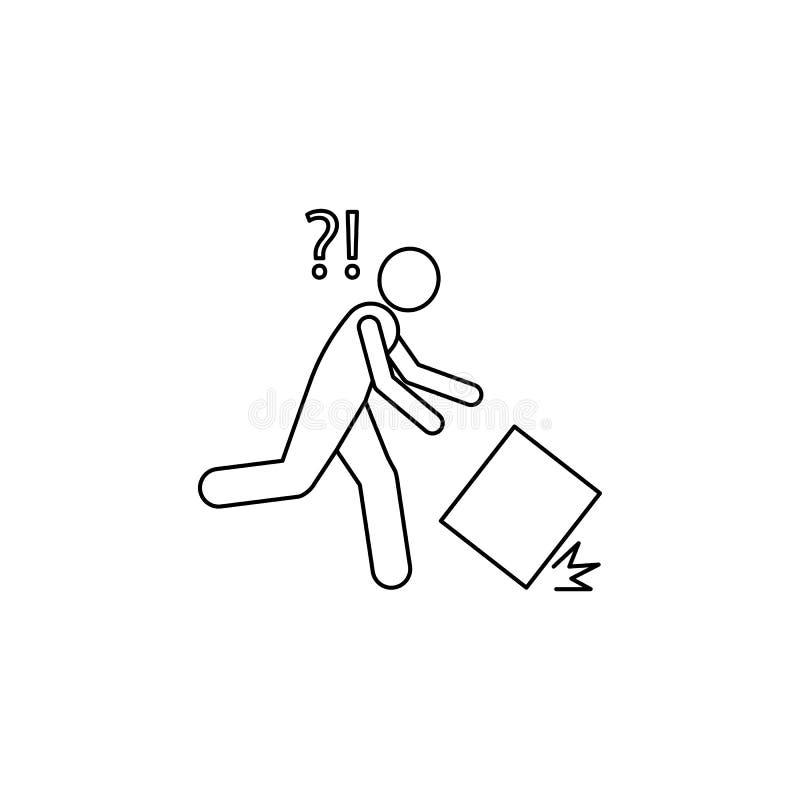 der Kasten fällt von den Händen einer Mannikone Element des Mannes trägt eine Kastenillustration Erstklassige Qualitätsgrafikdesi lizenzfreies stockbild