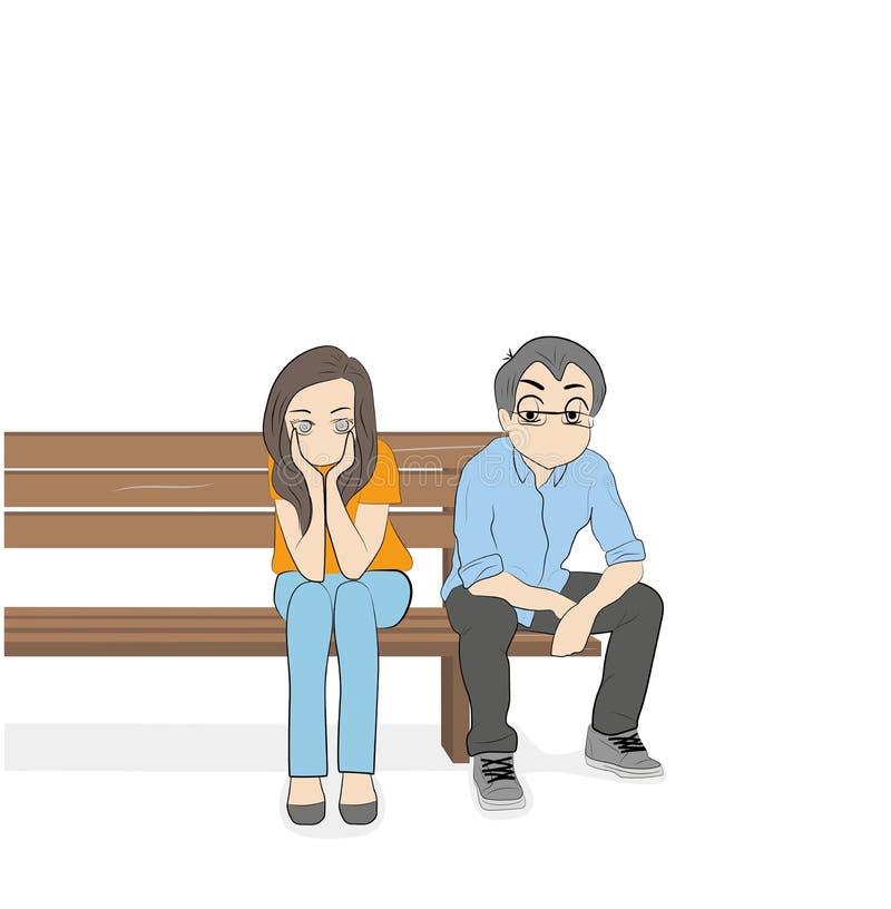 Der Kerl mit dem Mädchen sitzen auf der Bank Konfliktsituation Auch im corel abgehobenen Betrag lizenzfreie abbildung