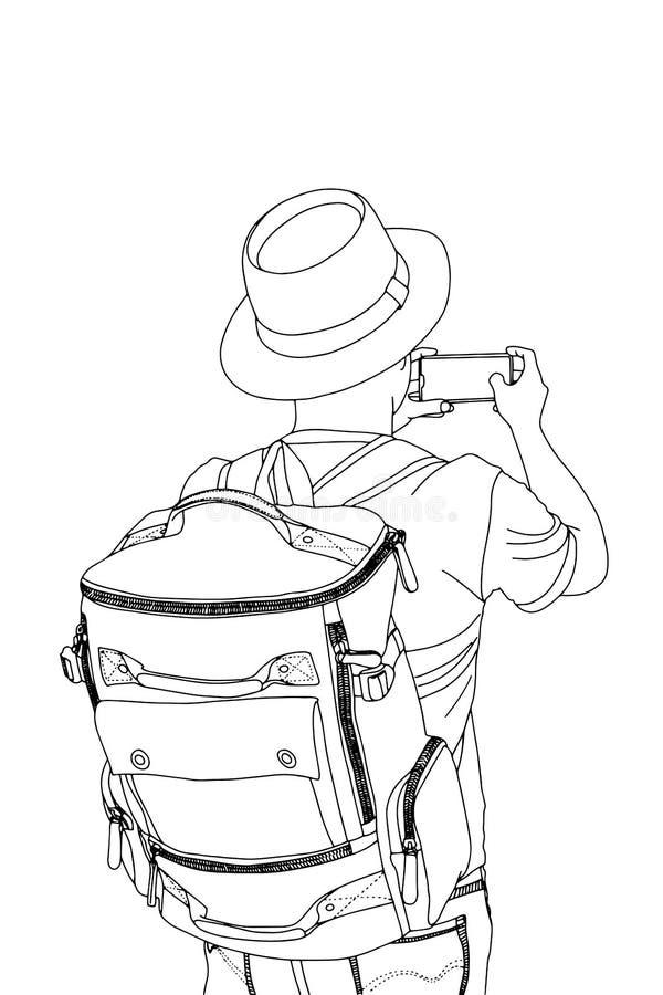 Der Kerl mit dem Rucksack Begriffsreiseillustration stockfotografie