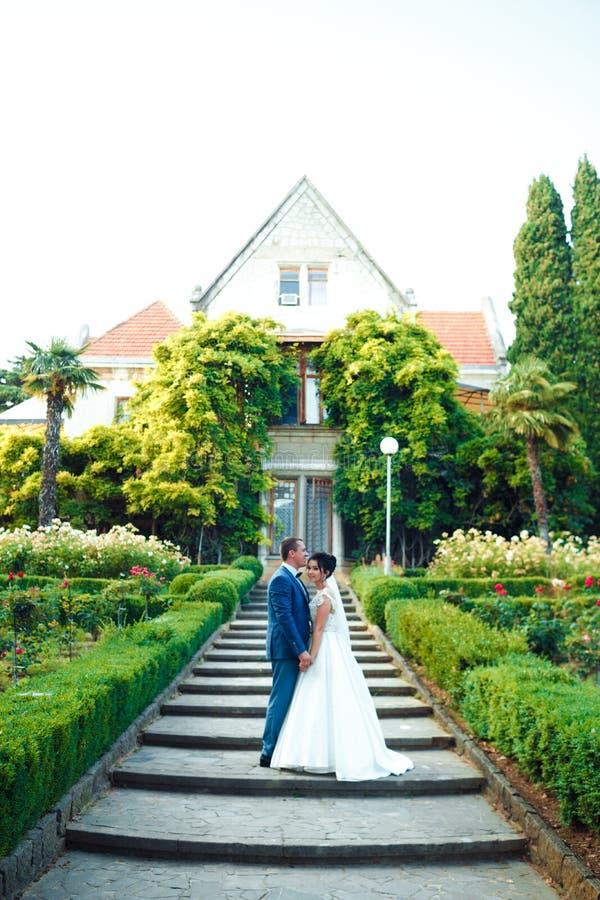 Der Kerl und das M?dchen l?cheln an einander Klassische junge Hochzeitspaare lizenzfreie stockfotos