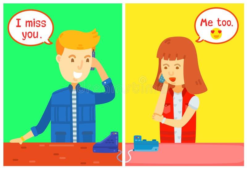 Der Kerl- und Mädchencharakter, der um das Telefon mit Mitteilungskasten, Haus ersucht, sprachen sie am Telefon, haben ein langes vektor abbildung