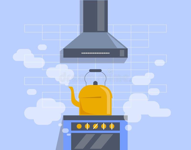 Der Kessel kocht auf dem Ofen Ein Küchenofen, Dampf, eine Haube über dem Kessel Flache Illustration stock abbildung