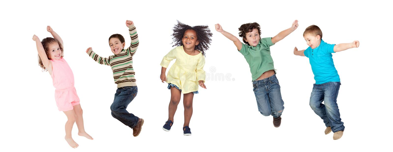 Der Kinder sofort springend lizenzfreies stockbild