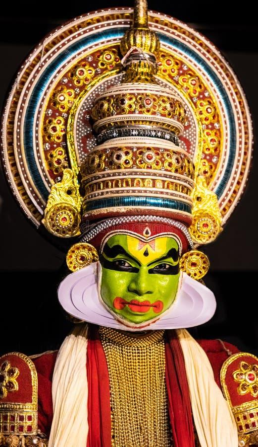 Der klassischen der Gesichtsausdruck Tanzmänner Kathakali Kerala lizenzfreie stockbilder