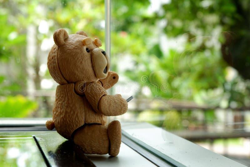 Der kleine Bär sitzt stockbild