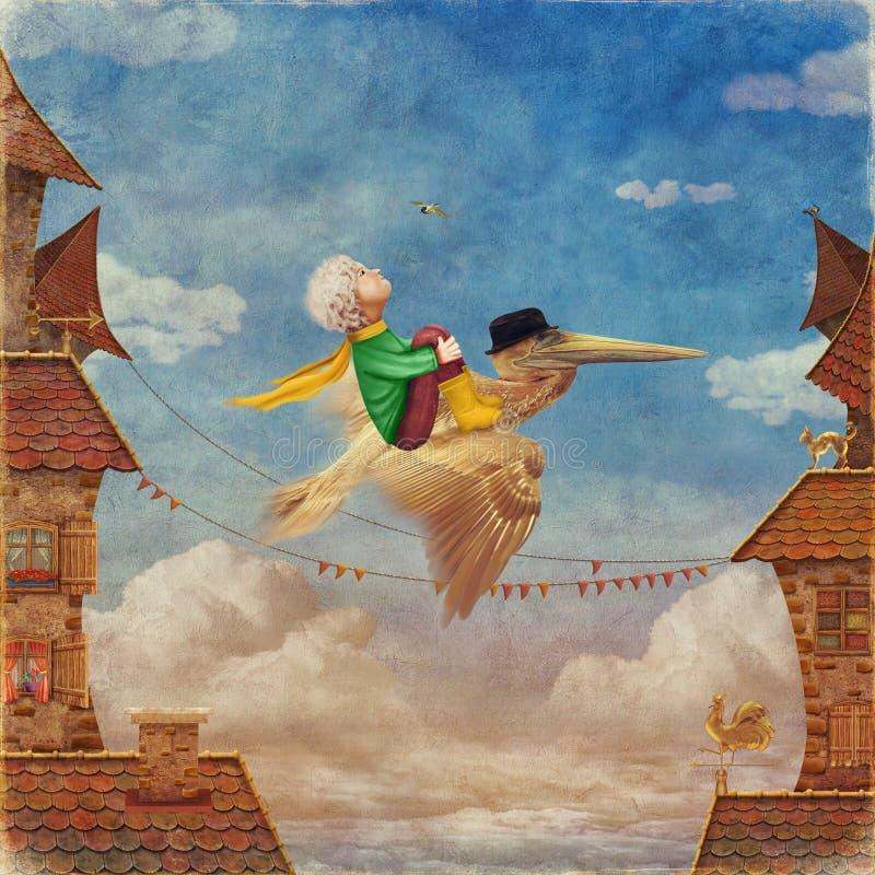 Der kleine Junge und der braune Pelikan im Himmel vektor abbildung