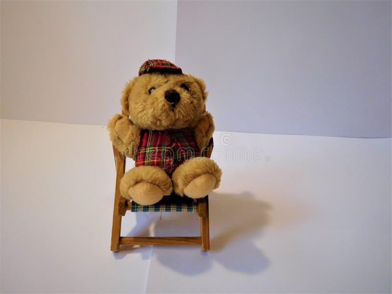 Der kleine Stuhl und Teddy Bear lizenzfreies stockbild