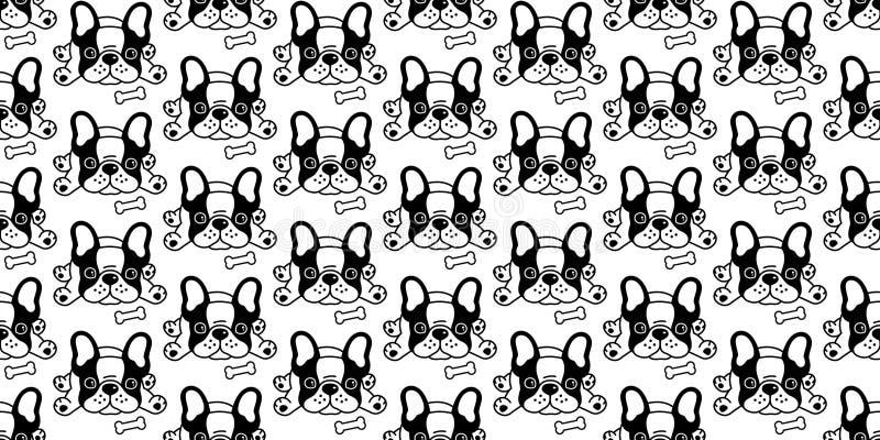 Der Knochenkarikaturillustration der französischen Bulldogge des Hundenahtloser Mustervektors Fliesenhintergrund-Wiederholungstap vektor abbildung