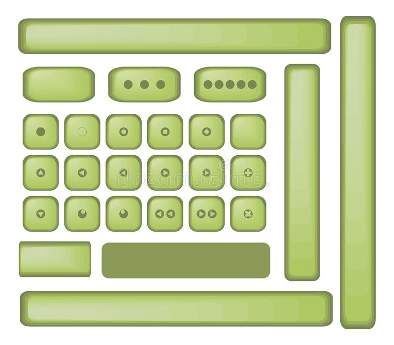 Der Knopfspielerweinlese der grünen Olive Funkeln-Schreibmaschinenvektor lokalisierte Retro- alter stumpfer Gegenstände auf weiße stock abbildung
