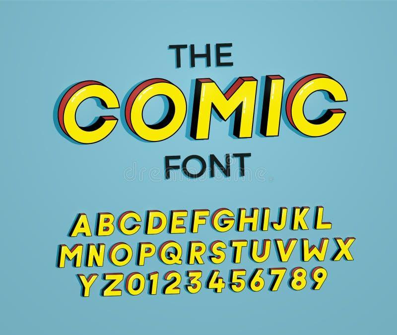 Der komische Guss Design der Vektorillustration 3d Buchstaben und Zahlen entwerfen mit Superheld-Comic-Buch-Effekt lizenzfreie abbildung