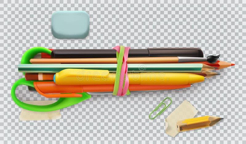 Der Kompaß und der Winkelmesser Stift, Bleistift, Bürste und Scheren Drei Farbikonen auf Pappumbauten lizenzfreie abbildung
