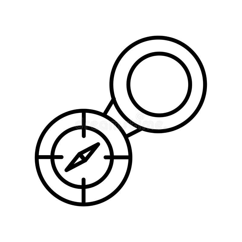 Der Kompassikonenvektor, der auf weißem Hintergrund lokalisiert wird, umgehen Zeichen, Linie oder lineares Zeichen, Elemententwur stock abbildung